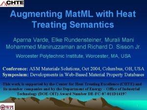 Augmenting Mat ML with Heat Treating Semantics Aparna