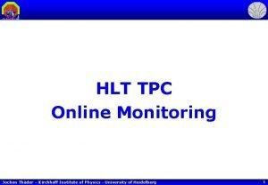 HLT TPC Online Monitoring Jochen Thder Kirchhoff Institute