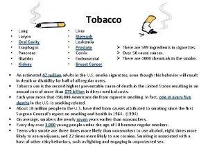 Tobacco Lung Larynx Oral Cavity Esophagus Pancreas Bladder