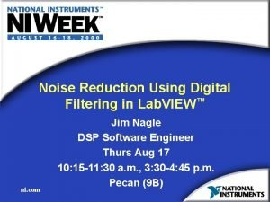 Noise Reduction Using Digital Filtering in Lab VIEW