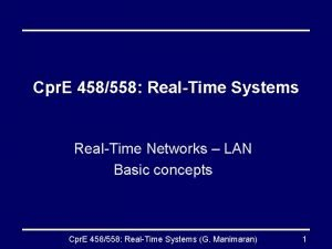 Cpr E 458558 RealTime Systems RealTime Networks LAN
