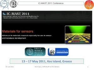 ICMAST 2011 Conference 13 17 May 2011 Kos