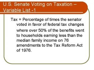 U S Senate Voting on Taxation Variable List