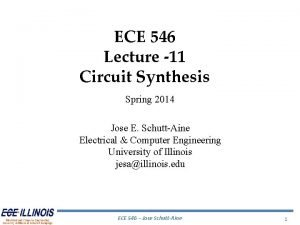 ECE 546 Lecture 11 Circuit Synthesis Spring 2014
