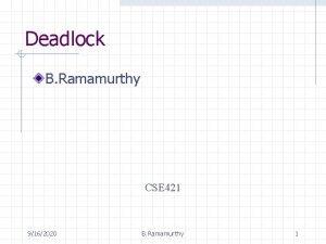 Deadlock B Ramamurthy CSE 421 9162020 B Ramamurthy
