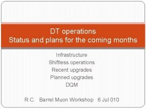 DT operations Status and plans for the coming
