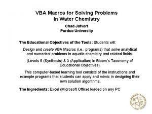 VBA Macros for Solving Problems in Water Chemistry