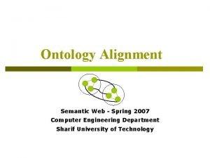 Ontology Alignment Semantic Web Spring 2007 Computer Engineering