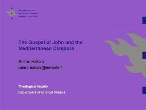 The Gospel of John and the Mediterranean Diaspora