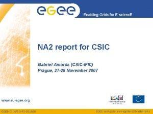 Enabling Grids for Escienc E NA 2 report