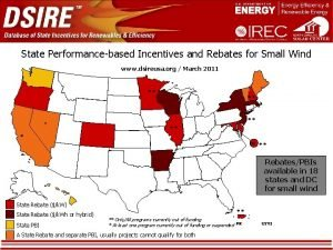 State Performancebased Incentives and Rebates for Small Wind