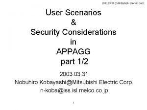 2003 31 c Mitsubishi Electric Corp User Scenarios