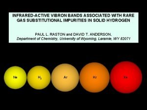 INFRAREDACTIVE VIBRON BANDS ASSOCIATED WITH RARE GAS SUBSTITUTIONAL