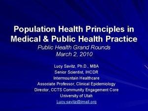 Population Health Principles in Medical Public Health Practice