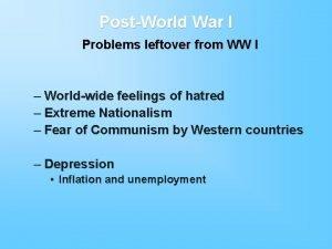 PostWorld War I Problems leftover from WW I