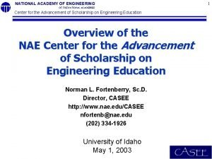 NATIONAL ACADEMY OF ENGINEERING OF THE NATIONAL ACADEMIES