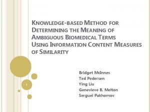 KNOWLEDGEBASED METHOD FOR DETERMINING THE MEANING OF AMBIGUOUS
