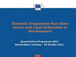 Thematic Programme NonState Actors and Local Authorities in