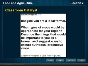 Food and Agriculture Classroom Catalyst Section 2 Food