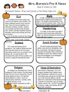 Mrs Moranos PreK News Week of October 26