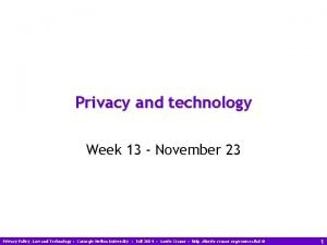 Privacy and technology Week 13 November 23 Privacy