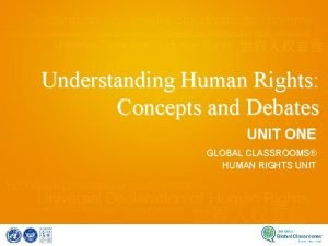 Understanding Human Rights Concepts and Debates UNIT ONE