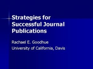 Strategies for Successful Journal Publications Rachael E Goodhue