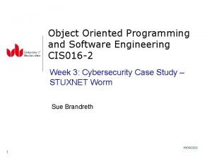 Object Oriented Programming and Software Engineering CIS 016