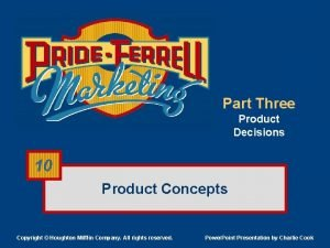 Part Three Product Decisions 10 Product Concepts Copyright