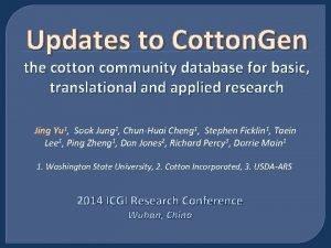 Updates to Cotton Gen the cotton community database