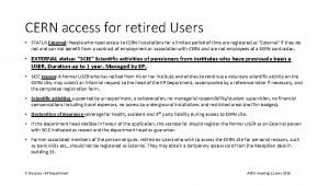 CERN access for retired Users STATUS External People