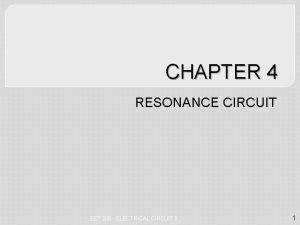 CHAPTER 4 RESONANCE CIRCUIT EET 206 ELECTRICAL CIRCUIT