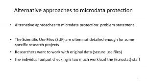 Alternative approaches to microdata protection Alternative approaches to