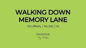 WALKING DOWN MEMORY LANE JOURNAL MUSIC AI PRESENTER