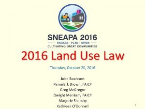 2016 Land Use Law Thursday October 20 2016