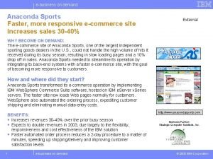 ebusiness on demand Anaconda Sports Faster more responsive