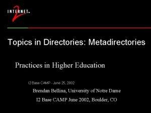 Topics in Directories Metadirectories Practices in Higher Education