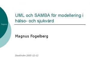 fogare UML och SAMBA fr modellering i hlso