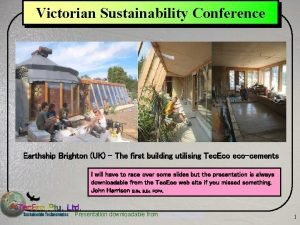 Victorian Sustainability Conference Earthship Brighton UK The first