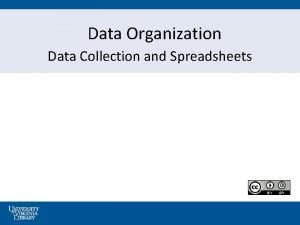 Data Organization Data Collection and Spreadsheets Consistent Data
