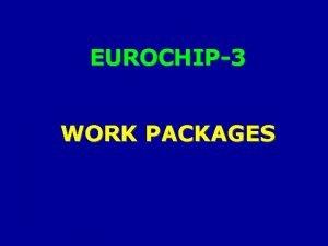EUROCHIP3 WORK PACKAGES MAIN WORK PACKAGES of EUROCHIP3