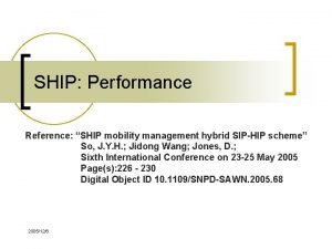 SHIP Performance Reference SHIP mobility management hybrid SIPHIP