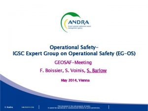 Operational Safety IGSC Expert Group on Operational Safety
