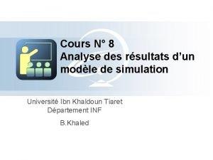 Cours N 8 Analyse des rsultats dun modle