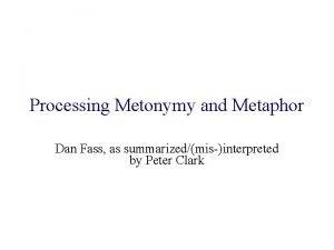 Processing Metonymy and Metaphor Dan Fass as summarizedmisinterpreted