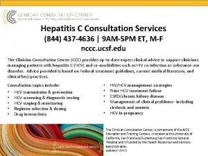 Hepatitis C Consultation Services 844 437 4636 9