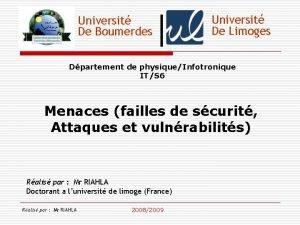 Universit De Boumerdes Universit De Limoges Dpartement de