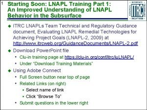 1 Starting Soon LNAPL Training Part 1 An