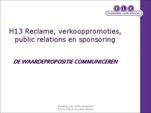 H 13 Reclame verkooppromoties public relations en sponsoring