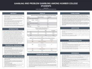 GAMBLING AND PROBLEM GAMBLING AMONG HUMBER COLLEGE STUDENTS